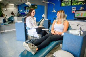 Dr. Dorie Frank with a patient