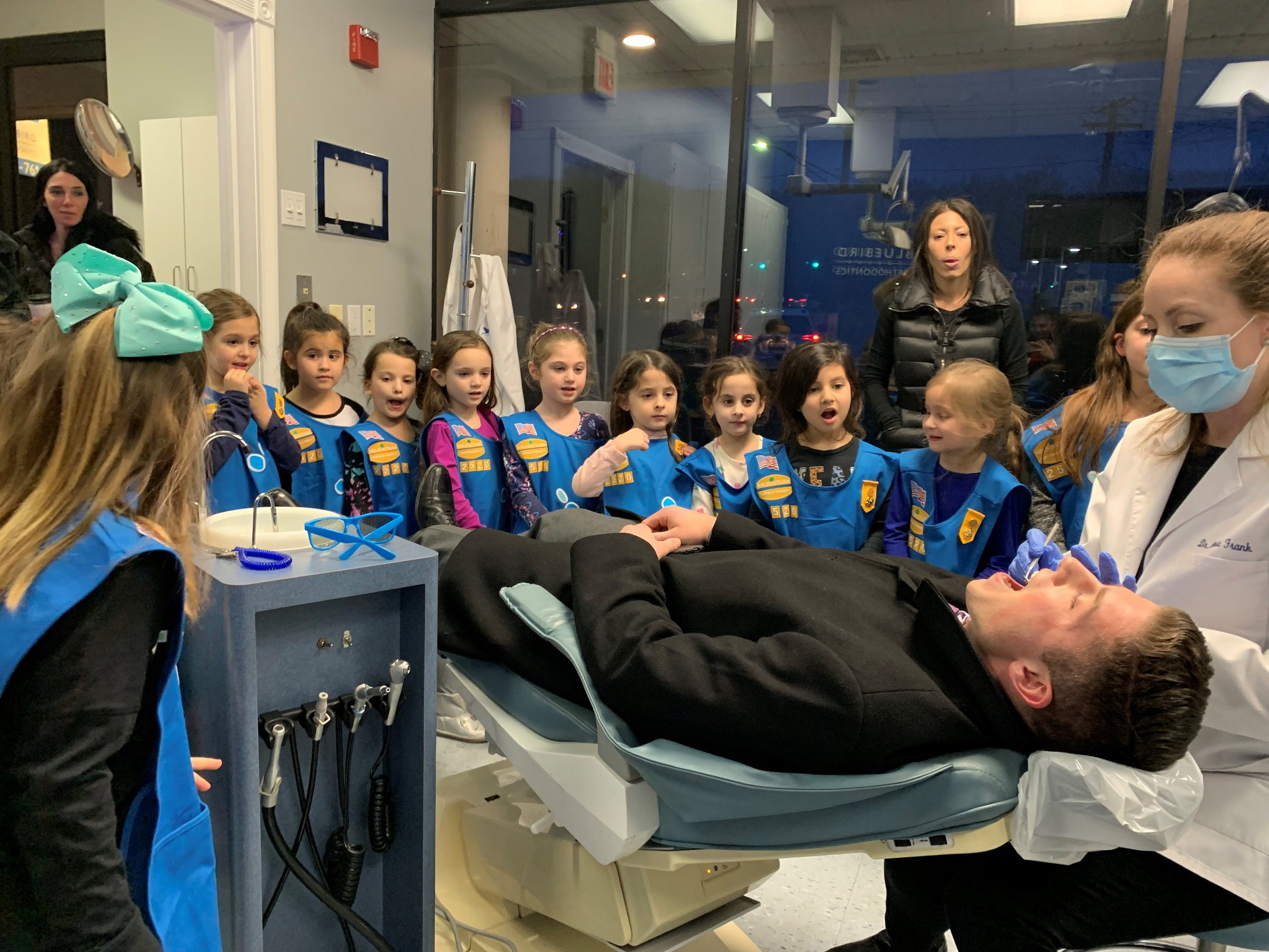 Girl scouts with Dr. Dorie